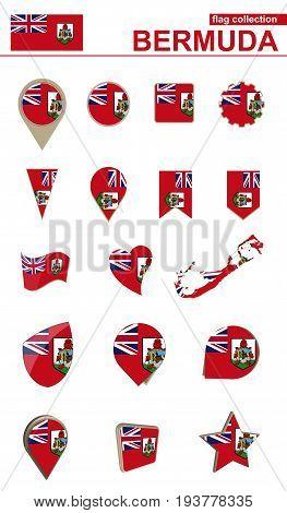 Bermuda Flag Collection. Big Set For Design.
