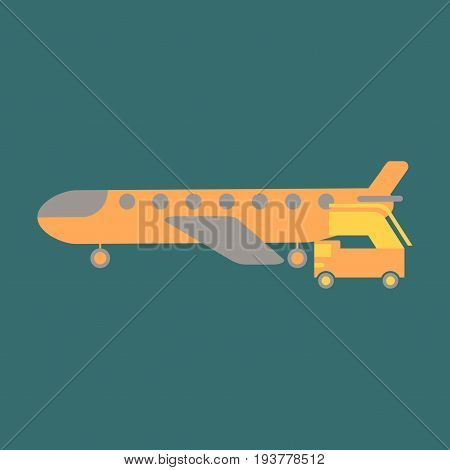 Icon in flat design for airport airplane gangway