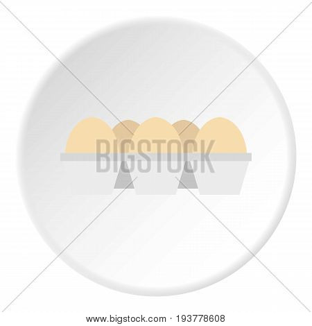 Eggs in carton package icon in flat circle isolated vector illustration for web