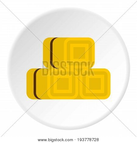 Hay bundles icon in flat circle isolated vector illustration for web