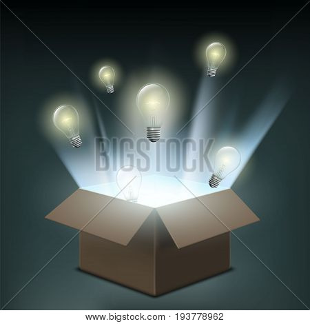 Light bulbs fly out of a cardboard box. Symbol of creative innovation and business start-up. Power of electricity and technological discoveries. Stock vector illustration.