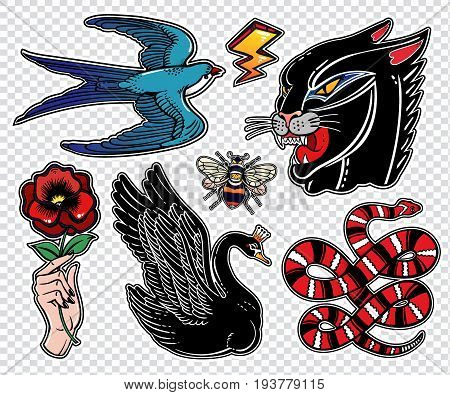 Set of animals and items in classic flash tattoo style patches or elements. Set of traditional stickers, pins, in 90 s comic style. Pop art items. Fashionable vector collection, vintage stikers kit.