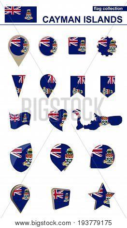 Cayman Islands Flag Collection. Big Set For Design.