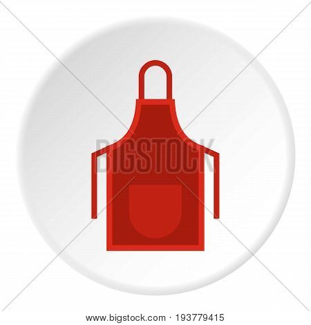 Red apron icon in flat circle isolated vector illustration for web