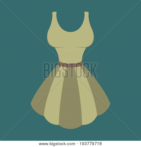 Icon in flat design fashion clothes fluffy dress