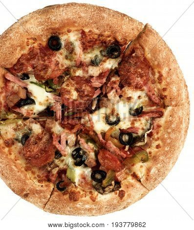 Freshly Baked Pepperoni Pizza with Black Olives Pepperoni Ham and Cheese Cross Section on White background