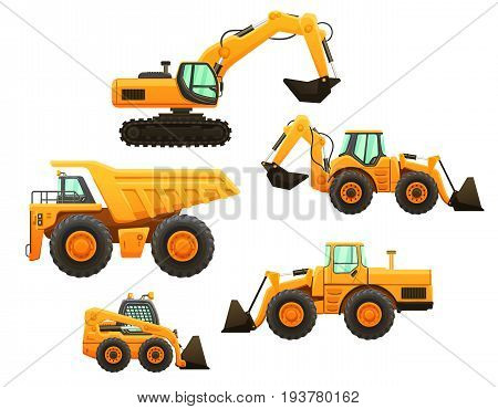 Construction equipment vector isolated set. Mining truck, bulldozer, mini loader, tracktor and excavator.