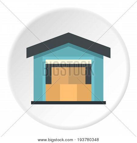 Warehouse icon in flat circle isolated vector illustration for web