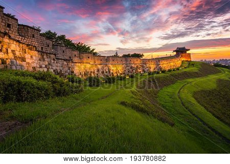 Traditional Architecture Of Korea At Suwon, Hwaseong Fortress In Sunset, South Korea.