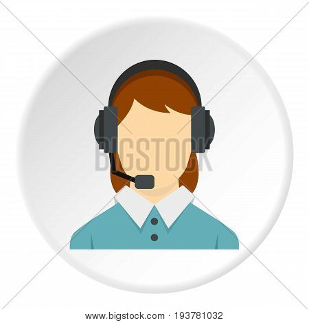 Call center operator with phone headset icon in flat circle isolated vector illustration for web
