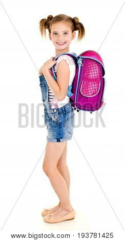 Portrait of smiling happy school girl child with school bag isolated on a white background education concept