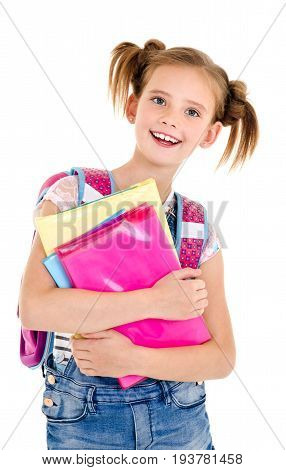 Portrait of smiling happy school girl child with school bag and books isolated on a white background education concept