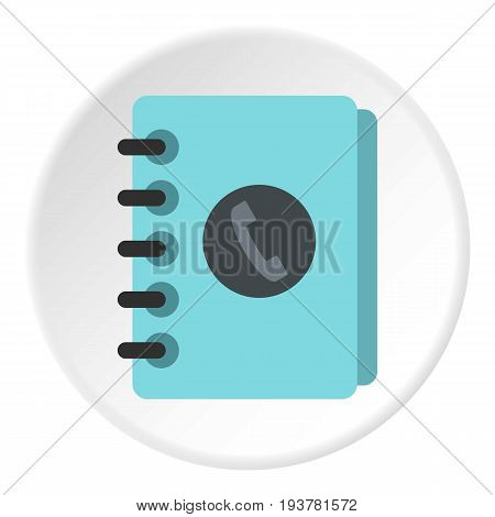 Blue address book icon in flat circle isolated vector illustration for web