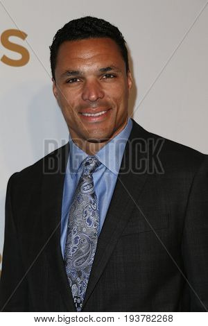 Former NFL tight end Tony Gonzalez attends the 2015 CBS Upfront at The Tent at Lincoln Center on May 13, 2015 in New York City.