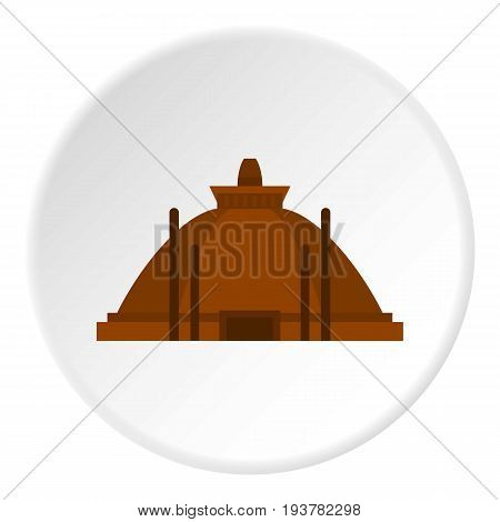Memorable ruins in Polonnaruwa in Sri Lanka icon in flat circle isolated vector illustration for web