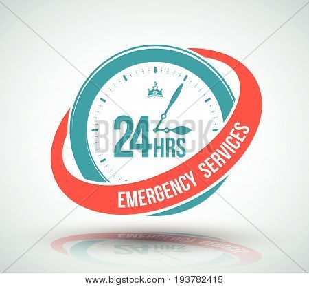 24 hours services banner. Vector illustration for business symbol.