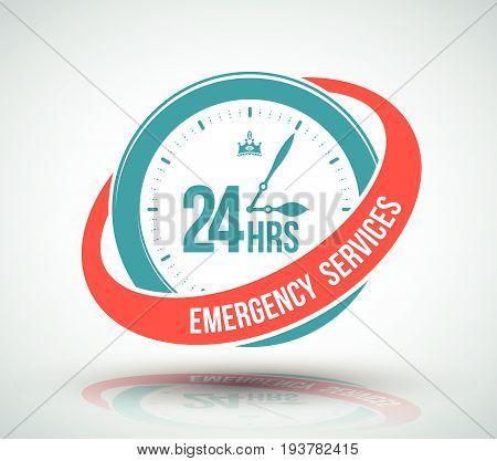 24 hours services banner. Vector illustration for business symbol.
