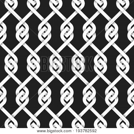 Abstract repeatable pattern background of white vintage lattice. Swatch of intertwined bands with loops. Volumetric seamless pattern in modern style.