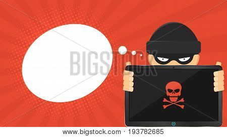 A cartoon hacker is holding a broken tablet in his hands. Empty cloud for text. Red skull on the screen. High-tech computer. Cartoon style. Vector illustration