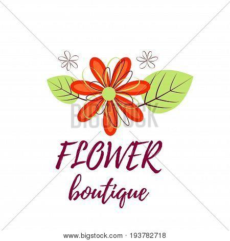Bright logo for a flower shop. Bright bouquet for a wedding shop, floral boutique, beauty salon
