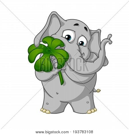 Big collection vector cartoon characters of elephants on an isolated background. Holds clover for good luck