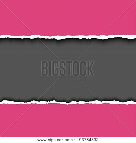 Torn paper. Pink vector rip edges page with soft shadow and space for text