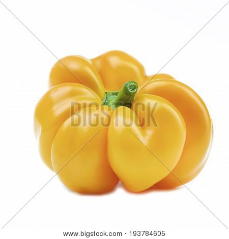 Perfect Ripe Shiny Yellow Bell Pepper isolated on White background