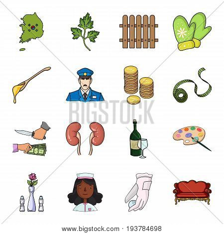 Korea, mainland, country and other  icon in cartoon style., leaf, growth, fence icons in set collection.