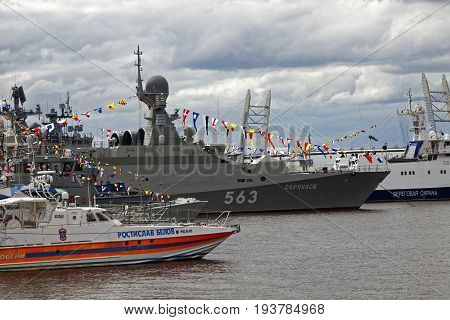 SAINT-PETERSBURG, RUSSIA - 2 JULY 2017: The 8th International Maritime Defence Show in Saint-Petersburg, Russia