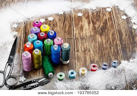 Sewing Spools Christmas Backround