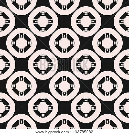 Vector ornamental seamless pattern for tiling. Geometric circular figures, symmetric grid, abstract monochrome square background. Design element for prints, embossing, decor, fabric, cloth, ceramic.