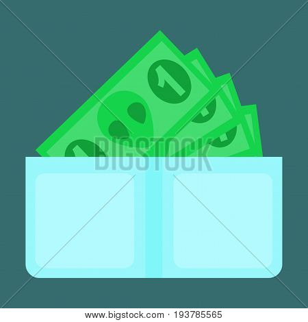 flat icon on stylish background Money in a purse