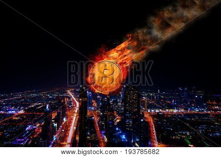 Concept of Bitcoin Price falling, Cryptocurrency, Digital money