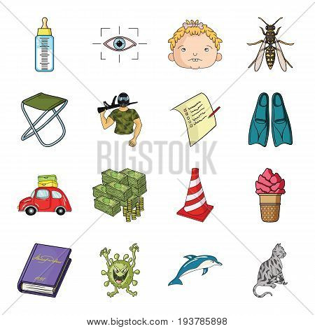dolphin, livestock, cat and other  icon in cartoon style. virus, bacteria, monster icons in set collection.