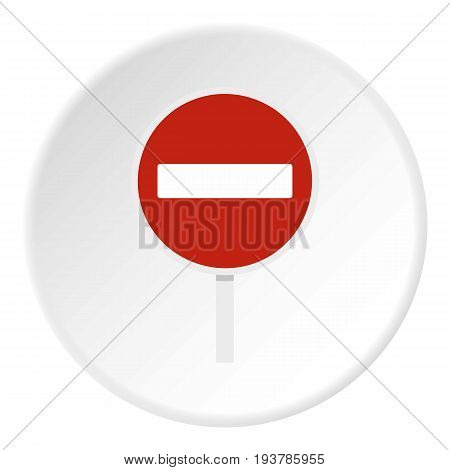 No entry traffic sign icon in flat circle isolated vector illustration for web