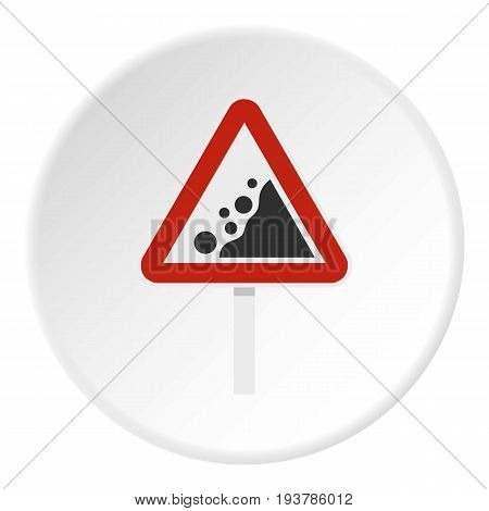 Rockfall traffic sign icon in flat circle isolated vector illustration for web