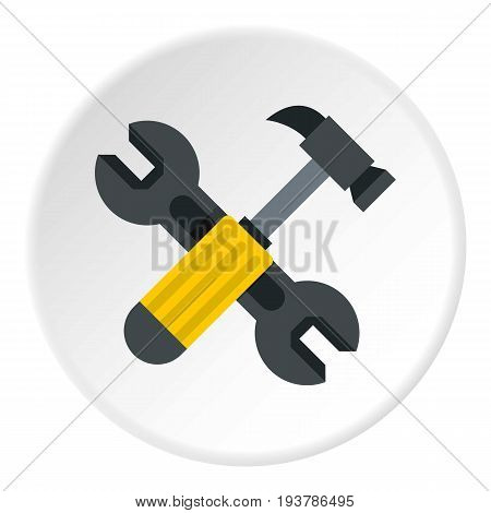 Crossed wrench and hammer icon in flat circle isolated vector illustration for web