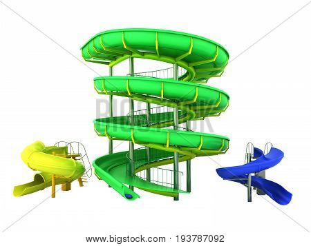 Waterpark Slides Green Yellow Blue 3D Rendering On White Background No Shadow