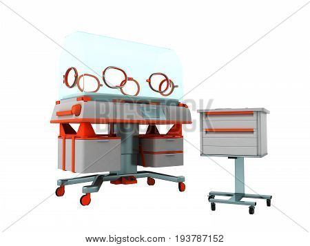 Incubator For Children 3D Render On White Background No Shadow