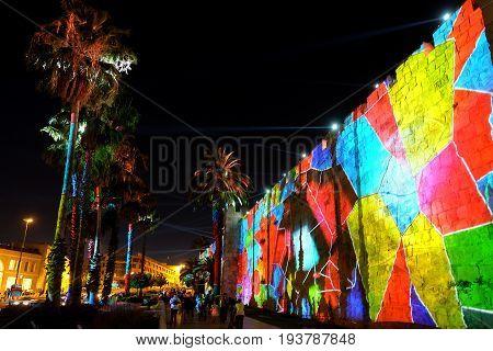 JERUSALEM ISRAEL - JUNE 27 2017: Festival of Light 2017 in Jerusalem. Projection on the wall of the Old City