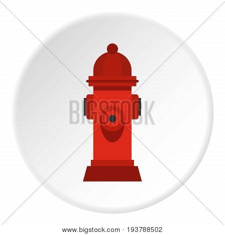 Red fire hydrant icon in flat circle isolated vector illustration for web
