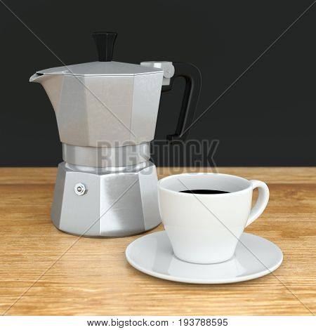 Moka coffee pot and white ceramic cup on wood cafe table. Metal italian espresso maker. 3D illustration
