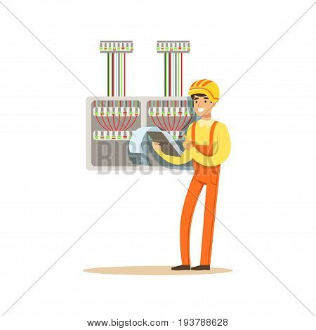 Electrician standing with documents checking electrical equipment, electric man performing electrical works vector Illustration isolated on a white background