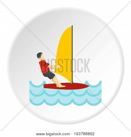 Windsurfing icon in flat circle isolated vector illustration for web