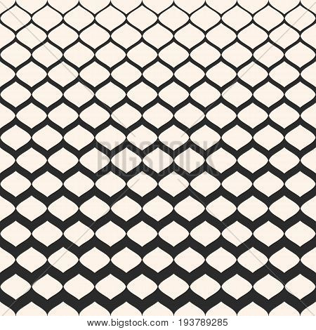 Halftone pattern. Monochrome texture with gradient transition effect. Seamless pattern. Illustration of mesh with gradually thickness. Modern abstract background. Design for prints, covers, decoration. Design pattern, textile pattern.