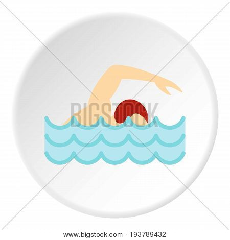 Swimmer crawling in pool icon in flat circle isolated vector illustration for web