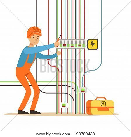 Electrician engineer in uniform repairing electricity power station, electric man performing electrical works vector Illustration isolated on a white background