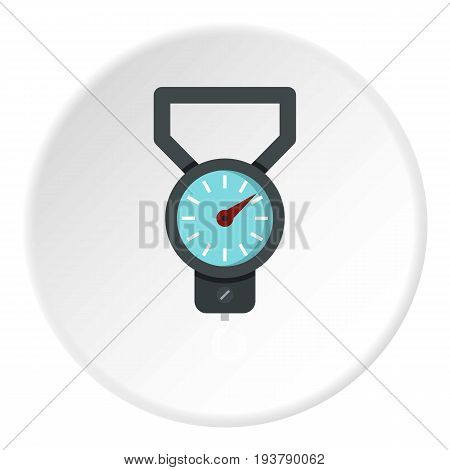 Spring scale icon in flat circle isolated vector illustration for web