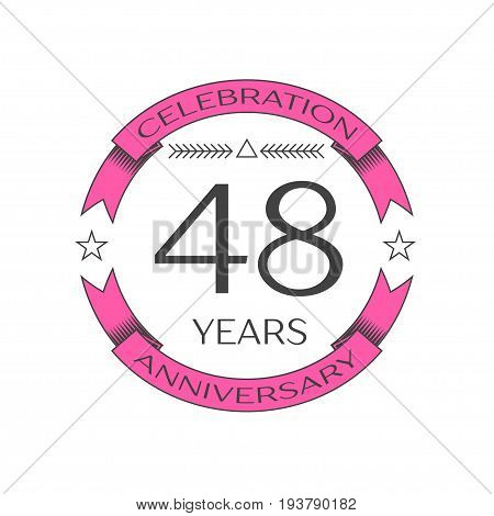 Realistic forty eight years anniversary celebration logo with ring and ribbon on white background. Vector template for your design