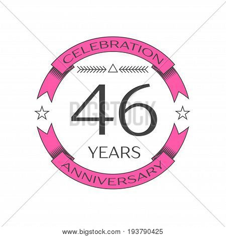 Realistic forty six years anniversary celebration logo with ring and ribbon on white background. Vector template for your design